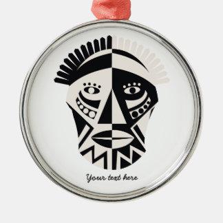 African mask primitive folk art Silver-Colored round decoration