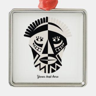 African mask primitive folk art Silver-Colored square decoration