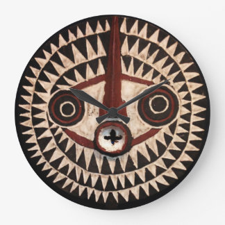 African Mask Round Wall Clock - Tribal Decor