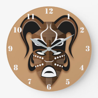 AFRICAN MASK (WITH WHITE NUMBERS) Wall Clock