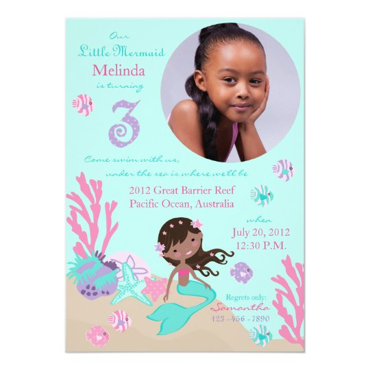 African Mermaid Third Birthday Card
