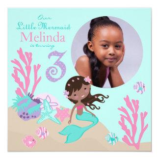 African Mermaid Third Birthday Invitation