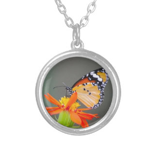 African Monarch butterfly on orange flower Silver Plated Necklace
