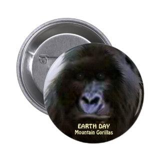 African Mountain Gorilla EARTH DAY Button