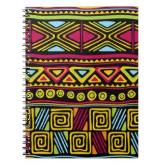 African Multi Color Pattern Print Design Spiral Notebook