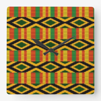African Multi Color Pattern Print Design Square Wall Clock