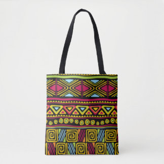 African Multi Color Pattern Print Design Tote Bag