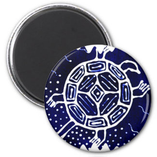 African mythical icon, turtle 6 cm round magnet