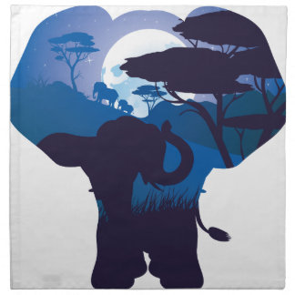 African Night with Elephant 4 Napkin