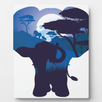 African Night with Elephant 4 Plaque