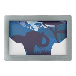 African Night with Elephant 4 Rectangular Belt Buckles