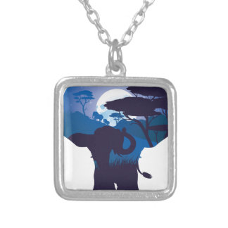 African Night with Elephant 4 Silver Plated Necklace