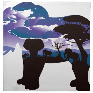 African Night with Elephant 5 Napkin