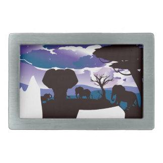 African Night with Elephant 5 Rectangular Belt Buckle