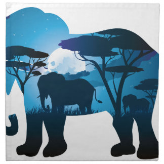 African Night with Elephant 6 Napkin