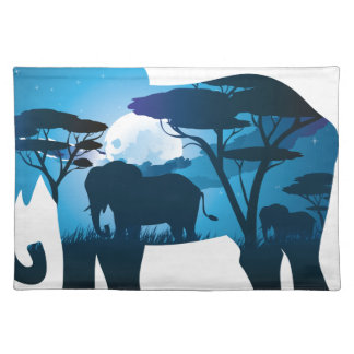 African Night with Elephant 6 Placemat