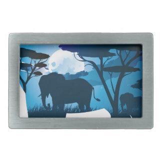 African Night with Elephant 6 Rectangular Belt Buckle