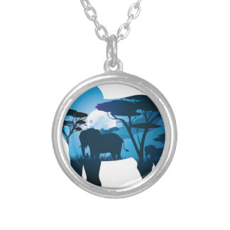 African Night with Elephant 6 Silver Plated Necklace