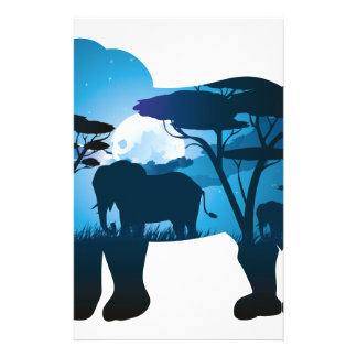 African Night with Elephant 6 Stationery