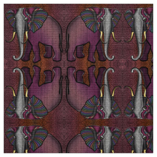 African Patchwork Elephant (Plum, Orange, Gray) Fabric
