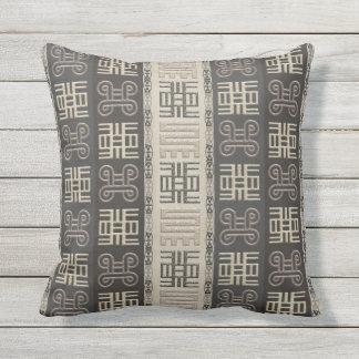 african pattern with Adinkra simbols Outdoor Cushion