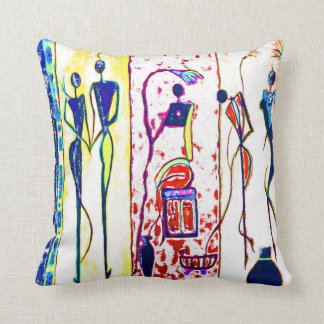 African people art in their phases of life cushion