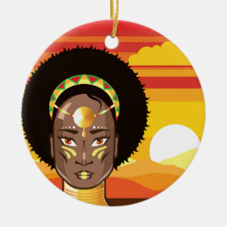 African Princess Ceramic Ornament