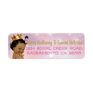 African Princess Royal Baby Shower Mailing Labels