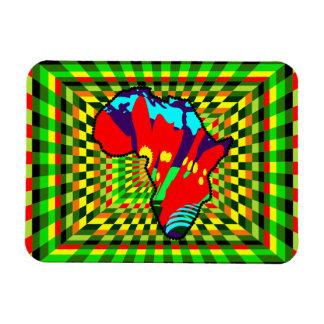 African Print Ankara Painted and Checkered Pattern Rectangular Photo Magnet