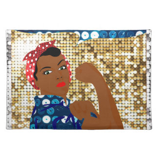 african rosie the riveter placemat