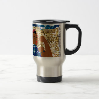 african rosie the riveter travel mug
