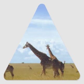 African Safari Giraffes Triangle Sticker
