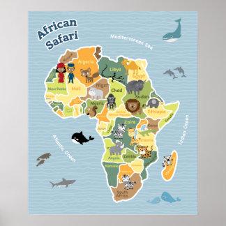 African Safari Map Poster