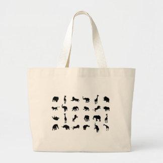 African Safari Silhouette Animal Large Tote Bag