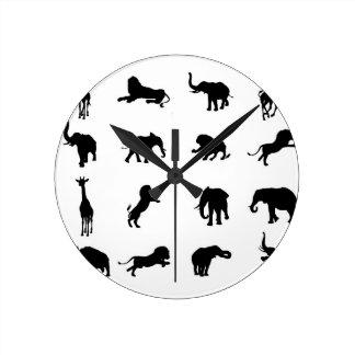 African Safari Silhouette Animal Round Clock