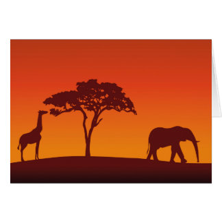 African Safari Silhouette - Greeting Card Card