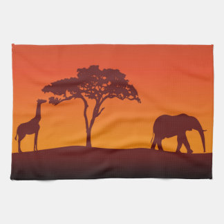 African Safari Silhouette - Kitchen Towel Hand Towels