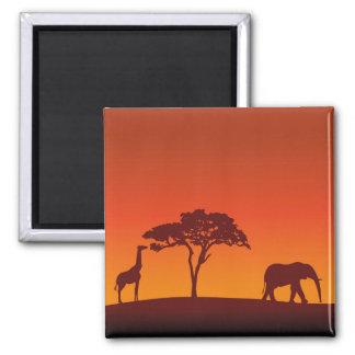 African Safari Silhouette - Magnet Fridge Magnet