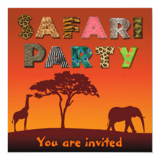 African Safari Silhouette Party - Invitation