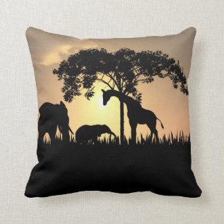 African Safari Silhouette Pillow Cushion