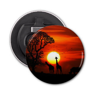 African Safari Sunset Animal Silhouettes Bottle Opener