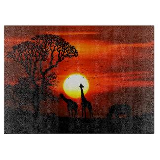 African Safari Sunset Animal Silhouettes Cutting Board