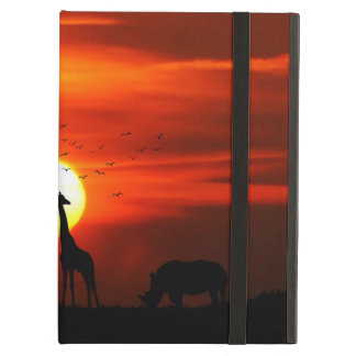 African Safari Sunset Animal Silhouettes iPad Air Cover
