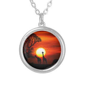 African Safari Sunset Animal Silhouettes Silver Plated Necklace