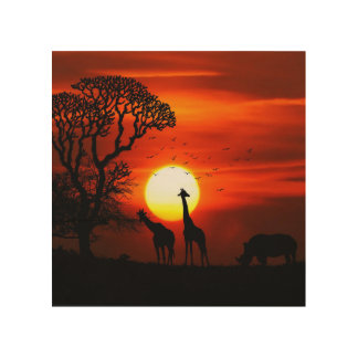 African Safari Sunset Animal Silhouettes Wood Print