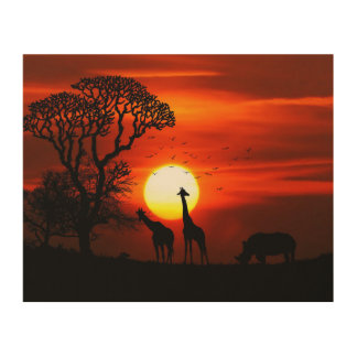 African Safari Sunset Animal Silhouettes Wood Wall Art