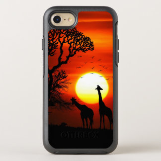African Safari Sunset Giraffe Silhouettes OtterBox Symmetry iPhone 8/7 Case