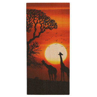 African Safari Sunset Giraffe Silhouettes Wood USB Flash Drive