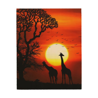 African Safari Sunset Giraffe Silhouettes Wood Wall Art
