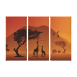 african safari three panel wrapped canvas gallery wrap canvas